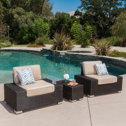 Marbellla Outdoor 3-Piece Round Wicker Chat Set with Sunbrella Cushions by Christopher Knight Home
