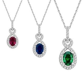 Divina Steling Silver Oval Shape Gemstone Fashion Pendant.