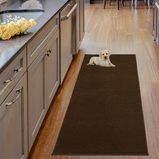 Berrnour Home Loft Collection Solid Shag Bathroom/Kitchen Runner Rug (3 options available)