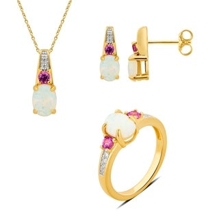 Divina Sterling Silver Opal and Pink Sapphire Gemstone Jewelry Set.