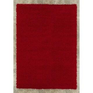 "Berrnour Home Plush Shaggy Red Shag (6'7"" X 9'3"") Area Rug"