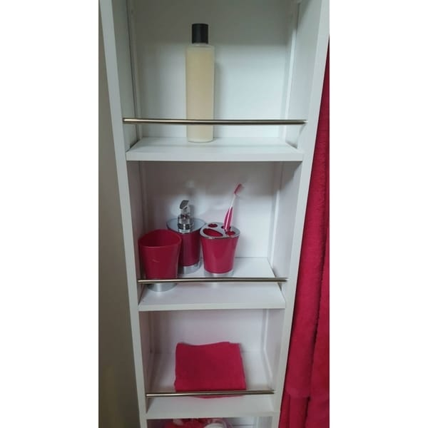 Good Evideco Swivel Storage Cabinet Organizer Linen Tower With Mirror White    Free Shipping Today   Overstock.com   23282773