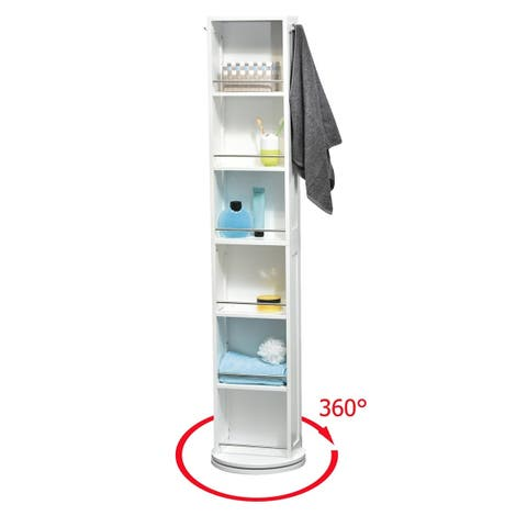 Evideco Swivel Storage Cabinet Organizer Linen Tower with Mirror White