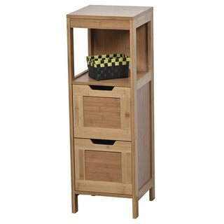 Evideco Bathroom Free Standing Storage Floor Cabinet Mahe Oak
