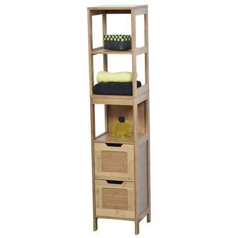 Evideco Bathroom Free Standing Cabinet Linen Tower Mahe Oak