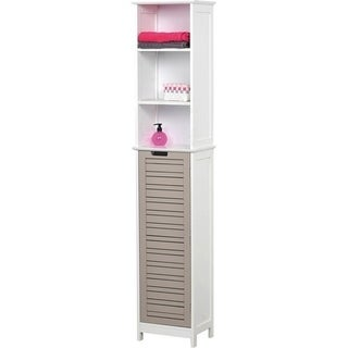 Evideco Bathroom Free Standing Cabinet Linen Tower So Romantic Taupe