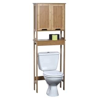 Evideco Over The Toilet Space Saver Cabinet Wood Mahe Oak