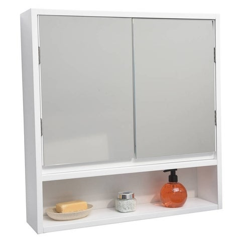 Evideco Wall Mounted Mirrored Medicine Cabinet Montreal White 2 Doors