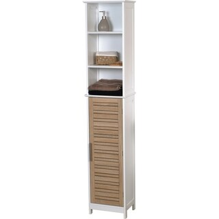 Evideco Bathroom Free Standing Cabinet Linen Tower Stockholm Oak