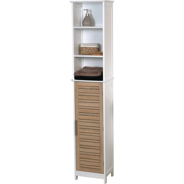 Evideco Bathroom Free Standing Cabinet Linen Tower Stockholm Oak Free Shipping Today