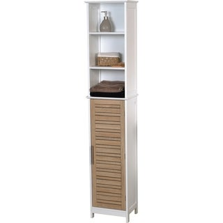 Evideco Bathroom Free Standing Cabinet Linen Tower Stockholm Oak