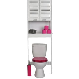 Evideco Over The Toilet Space Saver Cabinet Wood Miami White