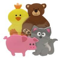 Evideco Baby Non Slippery Bathtub Mat Treads Animals Set of 4