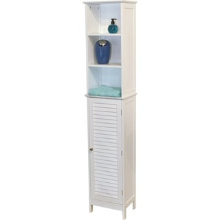 Evideco Bathroom Free Standing Cabinet Linen Tower Florence White