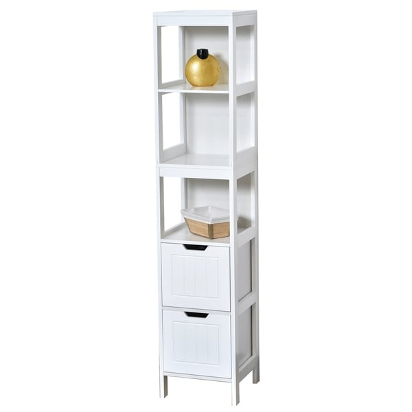 evideco bathroom free standing cabinet linen tower cap ferret white free shipping today