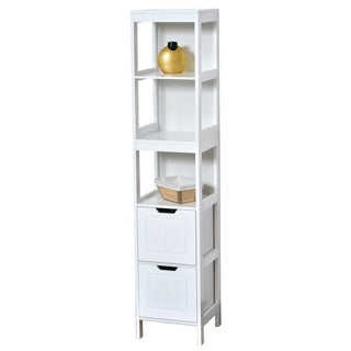 Evideco Bathroom Free Standing Cabinet Linen Tower Cap Ferret White
