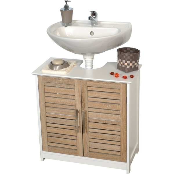 shop evideco non pedestal bathroom under sink vanity cabinet stockholm oak free shipping today. Black Bedroom Furniture Sets. Home Design Ideas