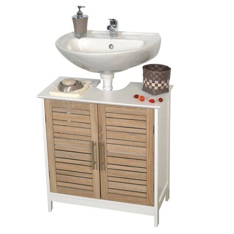 Evideco Non Pedestal Bathroom Under Sink Vanity Cabinet Stockholm Oak
