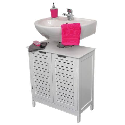 Evideco Non Pedestal Bathroom Under Sink Vanity Cabinet Miami White
