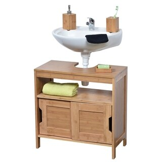 Evideco Non Pedestal Bathroom Under Sink Vanity Cabinet Mahe Bamboo