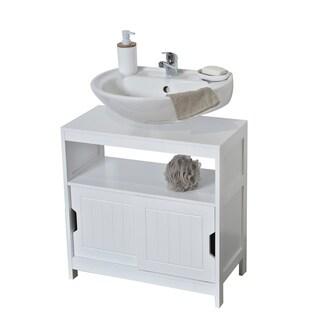 Evideco Non Pedestal Bathroom Under Sink Cabinet Cap Ferret White