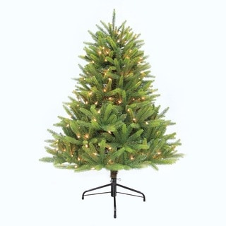 Puleo International 4-1/2-ft Pre-Lit Washington Valley Spruce Artificial Christmas Tree with 300 UL Sure-lit Clear Lights