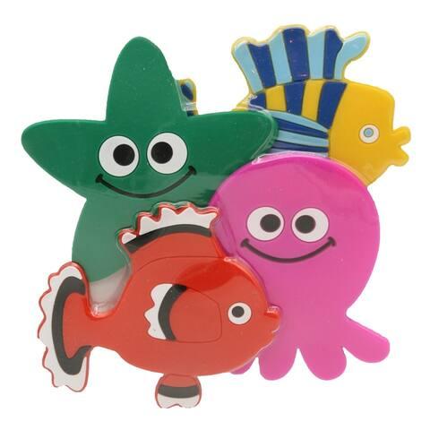 Baby Non Slippery Bathtub Treads Sea Animals Multicolored Set of 4