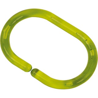 Evideco Shower Curtain Rings Plastic Hooks (Set of 12) (Option: Clear Lime Green)