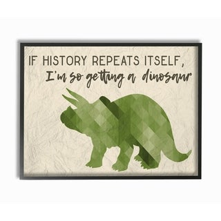 I'm So Getting a Dinosaur Green Triceratops Framed Giclee Texture Art