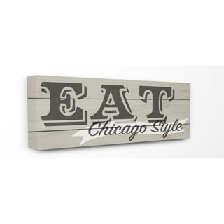 Eat Chicago Style Typography Stretched Canvas Wall Art