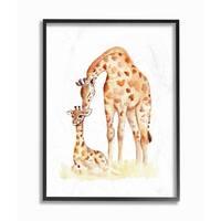 Giraffe Family Illustration Framed Giclee Texturized Art