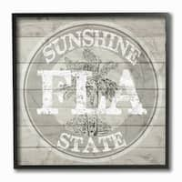 Florida Sunside State Medallion Framed Giclee Texturized Art - 12 x 12