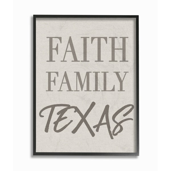 Faith Family Texas Typography Framed Giclee Texturized Art