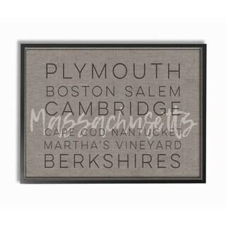 Massachusetts Berkshires Boston Salem Typography Framed Giclee Art