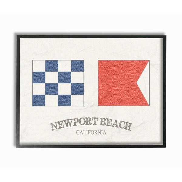 Newport Beach Nautical Flags Framed Giclee Texturized Art - Free ...