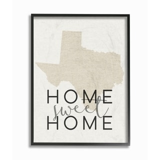 Home Sweet Home Texas Typography Framed Giclee Texturized Art
