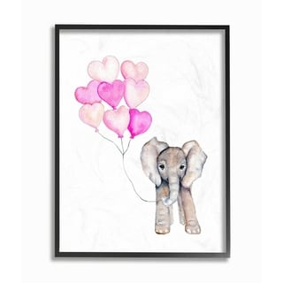 Baby Elephant with Pink Heart Balloons Framed Giclee Texturized Art