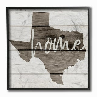 Texas Home Typography Map Framed Giclee Texturized Art