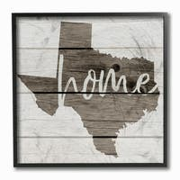 Texas Home Typography Map Framed Giclee Texturized Art - 12 x 12