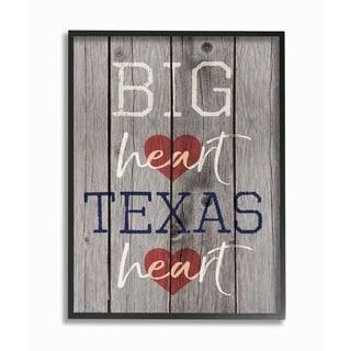 Big Heart Texas Heart Framed Giclee Texturized Art