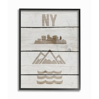 New York City Symbols Distressed Wood Framed Giclee Texturized Art