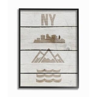 New York City Symbols Distressed Wood Framed Giclee Texturized Art