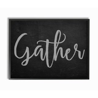 Gather Black and Grey Typography Framed Giclee Texturized Art