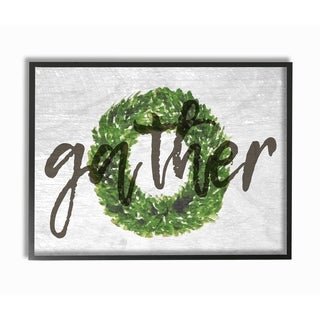 Gather Boxwood Wreath Typography Framed Giclee Texturized Art