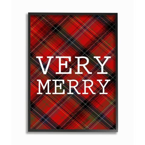 Very Merry Christmas Tartan Framed Giclee Texturized Art