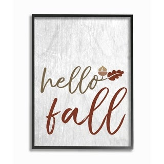 Hello Fall Oak Leaves and Acorn Framed Giclee Texturized Art