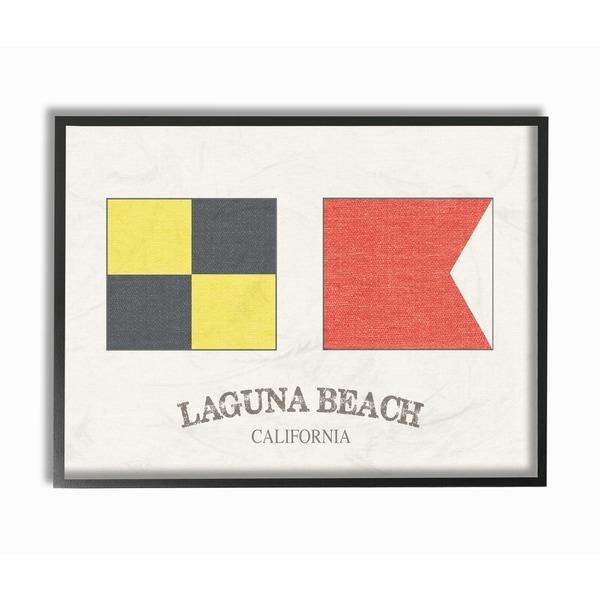 Shop Laguna Beach Nautical Flags Framed Giclee Texturized Art - On ...