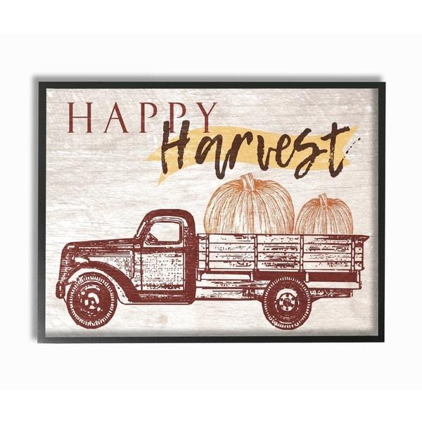 Happy Harvest Giant Pumpkin Truck Framed Giclee Texturized Art