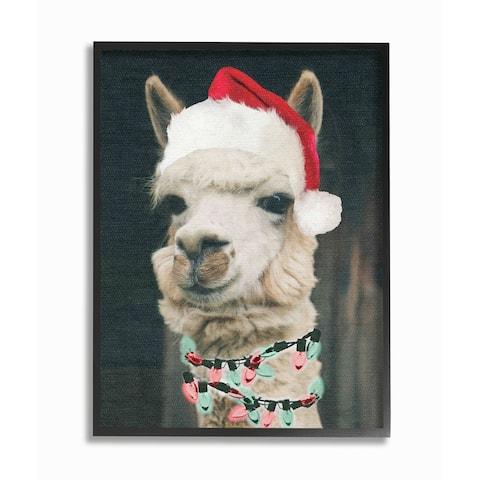 Christmas Llama Framed Giclee Texturized Art