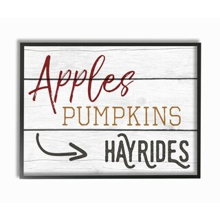 Apples Pumpkins Hayrides Vintage Sign Framed Giclee Texturized Art